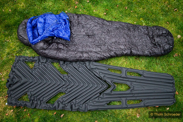 Klymit Inertia XL w/ sleeping bag for comparison