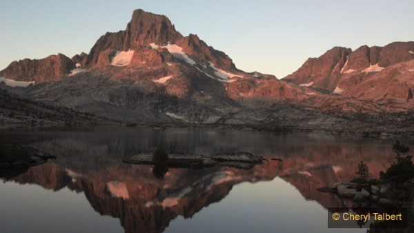 Sunrise glow on Mt Banner and Thousand Island Lake from our camp