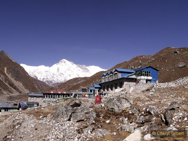 Our lodge in Gokyo, Cho Oyu behind