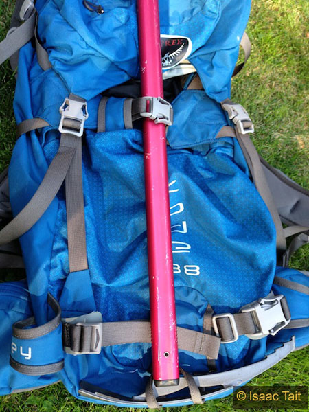 Ice axe mounted to pack