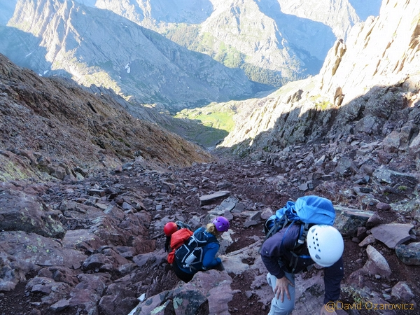 scrambling the red gully on crestone peak