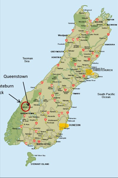 South Island Map with Routeburn Track