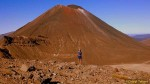 Little bitty me, Great Big Mt Doom!  Route up follows the white streak.