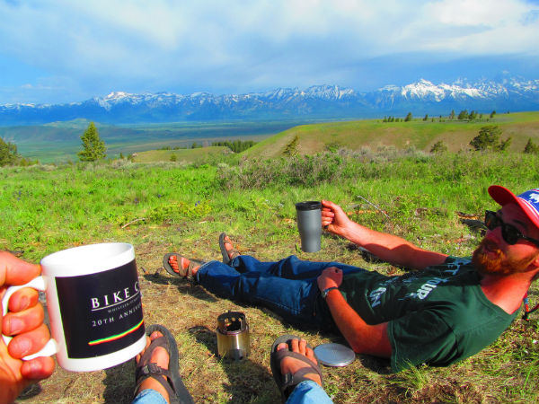 Cole Humphrey and Brooks Cowes enjoying a nice cup of camp coffee thanks to the Solo Stove