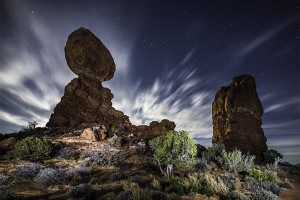 Balanced in the Night: Moab, Utah.  Photo by Matthew Torrie
