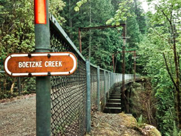 Catch the dramatic views and falls from the middle of the Boetzke Creek Trestle Bridge.  Photo by Sheri Goodwin.