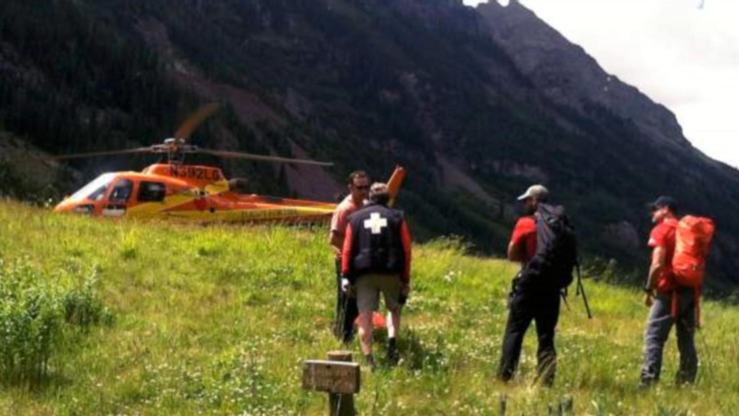 Life flight and search and rescue personnel respond to two deaths near Maroon Lake, Colorado on Wednesday.  denver.cbslocal.com