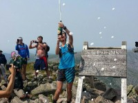 Scott Jurek Fined for excessive celebration on Maine's Mount Katahdin after setting the record for the fastest supported thru-hike of the Appalachian Trail.  Source: iRunFar.com