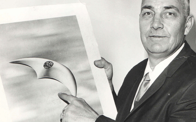 Arnold identified the objects as being slender and crescent shaped.  Later reports would coin the term flying saucer.  Photo Source mccluresmagazine.com