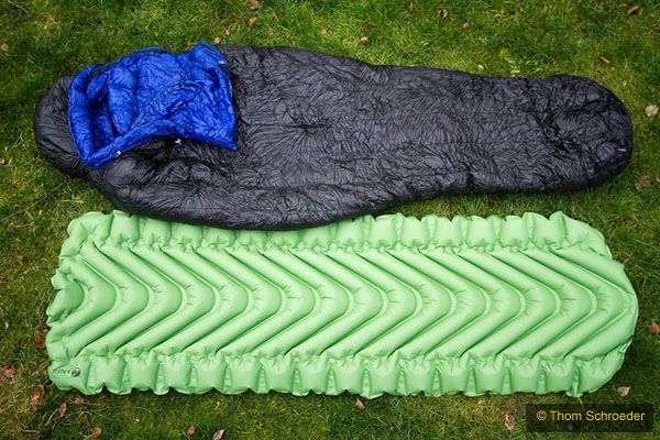 Klymit Static V w/ sleeping bag for comparison