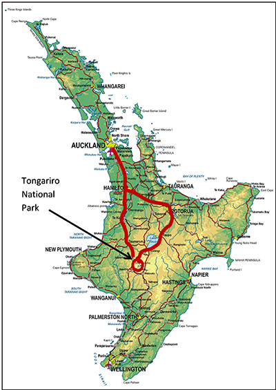 North Island Map with Our Route