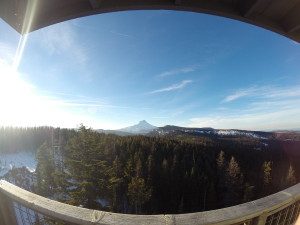 Front door view of Mount Hood in Oregon at Flag Point Lookout