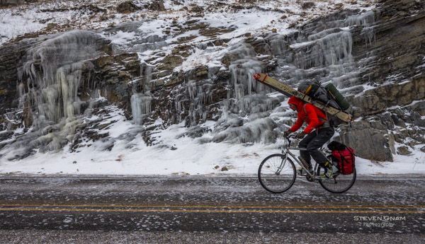 Steven Gnam heads off by bike into Glacier National Park on a wolverine tracking expedition.