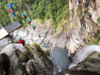 New cliff diving world record set in Switzerland by Laso Schaller, world class canyon guide. Koreus.com