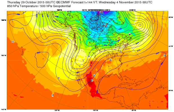500 mb map at 18,000 feet. Photo credit: ECMWF