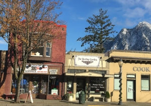 Pro Ski and Mountain Service in North Bend, WA with Mt. Si covered in snow in the background. Photo Credit Hilary Morris
